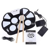 Wholesale 128 White USB MIDI Drum Kit PC Desktop Roll up Electronic Drum Pad Portable with Drum sticks
