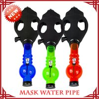 Cheap 17.2inch Gas Mask with Water Pipe Sealed Acrylic Hookah Pipe Silicone Mask Beaker Bongs Smoking Filter Tobacco Pipes Ash Catcher Perc