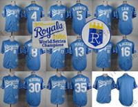 babies city - Kansas City Royals Jersey Brett Lorenzo Cain Bo Jackson Eric Hosmer Baby Blue th World Series Baseball Jersey