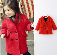 Cheap Baby girls Christmas Xmas jacket winter Spring children clothing double breasted overcoat Red Plus velvet coat kids woolen outerwear