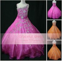 hot pink shirts - Hot Cheap Flower Girl Dresses For Wedding Cute One Shoulder Beads Ruffle Organza Crystals Backless Glitz Little Girl Pageant Gown LR808