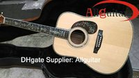 Wholesale Custom made All solid Guitar Deluxe handmade Guitar Ebony Fingerboard All Real Abalone inlay body Acoustic Guitar China guitar Gift Packs