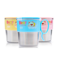 Wholesale 260ml Stainless Steel Drinking Cup Baby Training Cup Cartoon Cup With Handle