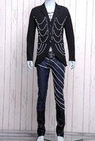 Cheap Mens chaining rivet jacket sexy long windbreaker nightclub black costumes w 4 Size 0085