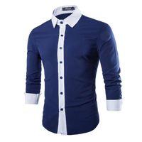 quality white shirts - Men Shirt in Autumn Fashion Brand Cotton Slim Men Shirt Long Sleeve High Quality Casual blue White black Shirt For Men