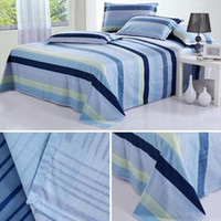 single bed - Vogue Home Bedding Stripe Floral Single Full Queen King Cotton Flat Sheet Bed Sheet For