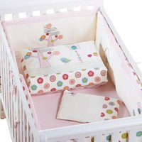 Wholesale 7Pcs Pink Baby Crib Bedding Set for Girls Cartoon Bird Newborn Baby Bed Linens Cotton Cot Quilt Bumpers Set Sheet Pillow Size