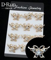 Wholesale broches crystal scarf pin clip brand for women fashion butterfly jewelry