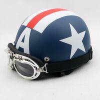 Wholesale KK NEW ABS Scooter Half Face Motorbike Casco Captain America Motocycle Matt Blue A Star Stripe Helmet UV Glasses Adult