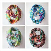 chevron scarves - Fashion Chevron Wave Print Scarf Circle Loop Infinity Scarves Women ZigZag Pattern Voile Stripe Ring Scarf