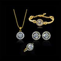 Wholesale Romantic Wedding Jewelry Sets for Women Luxury Ring Bracelet Earrings Necklace Sets Crystal Rhinestone Jewelry