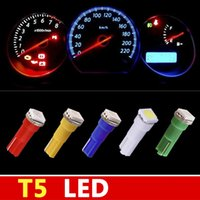 Wholesale 50pcs T5 SMD Dashboard Wedge LED Car Light Bulb Auto Lamp T5 LED Interior Lights White Red Yellow Blue Green