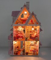 dollhouse miniature - Wooden Dollhouse Doll House Miniature Assembing DIY Educational Kids Light Alice Love Home Valentine s NEW YEAR birthday gift
