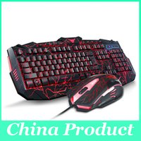 Wholesale Gaming keyboard and mouse teethteats three color backlight wired mouse and keyboard set mechanical keyboard free ship