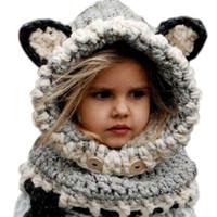 Prezzi Wool hat-2015 coreano caldo di inverno del collo Wrap Fox sciarpa Caps bambini svegli maglia di lana cappelli neonate Scialli Cappelli con cappuccio Cowl Beanie