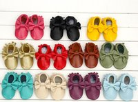 Wholesale Retail new baby Mocs shoes with fringe and bows newborn baby shoes infant first walker leather shoes kids shoes child comfortable shoes