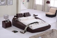 Wholesale Round Bed King size bed Top Grain Leather headrest round Soft Bed Bedroom Furniture Soft Bed with tea table on side B72