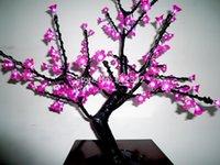 Cheap Wholesale-LED Bonsai Christmas Tree Light LED Cherry Blossom Tree 192pcs LEDs 0.8m Height Pink Color LED Lamp IP65 Free Shipping