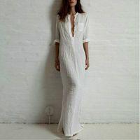 Wholesale Casual dresses for women summer Chiffon Ladies Long Slit Maxi Wrap shirt Dress Fashion red white black color dress