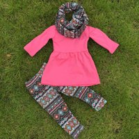 Cheap 2-7t FALL Winter kids OUTFITS 3 pieces scarf pant sets girls Hot sell Aztec boutique clothes kids hot pink top sets