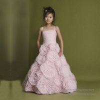 Wholesale Hot Sell Pink Flower Girl Dresses Square Neck A line Applique Organza Wedding Party Dress Straps F051