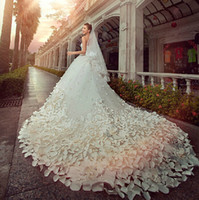 Wholesale 2015 New Luxury Royal Train Crystal Wedding Dresses Sweetheart Vestidos De Noite Beading Sequin Bridal Gown Backless Hand made Flowers