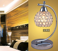 Wholesale 2016 Modern Crystal LED Desk Lamp Table Light for Bedroom Living Room Hotel Reading Lamp Chrome Color E14