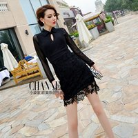posture collar - Small posture European and American retro palace style mesh sleeves openwork crochet lace package hip long sleeved dress lapel Slim