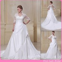 A-Line Reference Images 2015 Fall Winter Plus Size Wedding Dresses With Sleeves Half 2015 Classy A-line White Taffeta Bridal Gowns For Fat Woman Lace Up Country Western Bride Gown