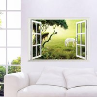 horse decor - 3D Window View Scenery Wall Sticker Living room Decals Removable Home Decor Prairie horse wallpaper