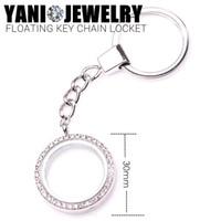 Wholesale 30mm Silver Round Floating Locket Key Chain Living Memory Glass Locket Pendant with Rhinestone