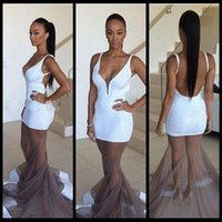 apple bottom dress - New Arrival Plunging V Neck Spaghetti Strap Floor Length White Sequined Prom Dresses Sexy See Through Tulle Bottom