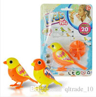 big pet birds - 100pcs CCA2407 Creative Cute Cartoon Hot Digi Birds Pets Music Electric Bird Singing Bird Toys With Button Battery Christmas Gift For Kids