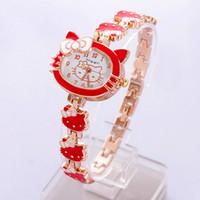 Wholesale 5pcs Girls Hello Kitty Quartz Watch Cartoon Wristband Birthday Anniversary Gift Wristwatch sw017