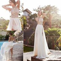 Wholesale 2016 Summer Lace Empire Bridal Dresses Court Train Sleeveless Backless A line Bridal Dresses Halter Side Split Chiffon Wedding Dresses DG