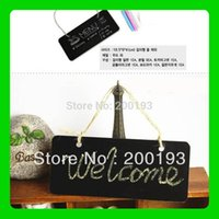 Wholesale SMILE MARKET pieces Wooden Hanging Mini Small blackboard Leave a message WordPad Room Doorplate