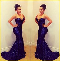 Wholesale Bling Royal Blue Sequins Mermaid Evening Dresses Strapless Sweetheart Backless Chapel Train Party Prom Formal Gowns New Celebrity Dress