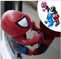 best car accessories - 16CM Spider Man kids Toys Climbing Spiderman Window Sucker Spider Man Doll Car Home Interior Decoration color best gifts