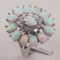 Wholesale White Fire Opal Australia Sterling Silver Woman Jewelry Ring Size F577