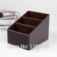 Cheap Space-saving pu leatherHigh-grade leather coffee table at home remote control box creative storage box cosmetic Desktop debris