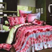 home bedding - 4pcs D Printed Bedding Set Bedclothes Red and Pink Rose Queen King Size Duvet Cover Bed Sheet Pillowcases Home bedding Set H15513