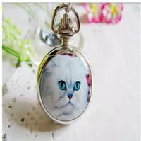 Wholesale New Fashion quartz classic Retro cat enamel Quartz watches children students Necklace pocket watches