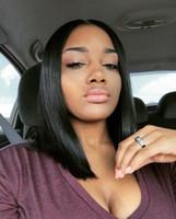 cheap black hair - Human Hair Wigs Bob A Brazilian Straight Hair Wig Glueless Full Lace Wigs Cheap Lace Front Bob Wigs For Black Women