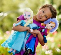 Wholesale Frozen Elsa Anna Princess Dress Stuffed Toys Plush Dolls for girls Puppet X mas Gift