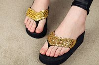 Wholesale wedges sequin flip flops in the summer outdoor slippers sandal Slipper with diamond ASH
