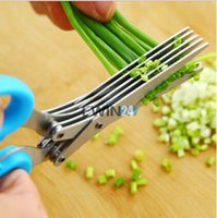 Wholesale 5 Blade Herb Scissors Stainless Steel Multi Layers Scissors Sushi Shredded Scallion Cut Herb Spices Scissors Cooking Tools