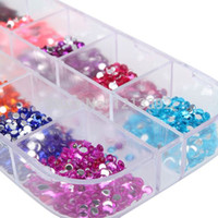 art cases - 3000 Round Nail Art Rhinestones Glitter Decoration Mixed Colors in Case BS88 Cheap decor Nail Art