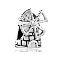 large hole beads - Large Hole Slide Bead Travelling Windmill Lucky European Charm Spacer Metal Bead Fit Pandora Bracelet