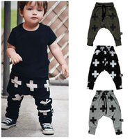 Wholesale New Spring Autumn Baby Harem Pants Boys Cross Print Loose Lace Up Kids Pants Children Harem Casual Trousers Gray Green Black