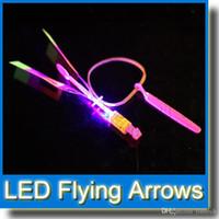 Wholesale LED Amazing Flying Arrows Helicopter Umbrella Light Parachute Kids Toys Kids Gift LED Flying Toys LED Lighte Up Toy